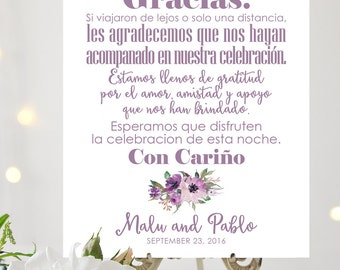 Gracias Sign   Spanish Sign   8 x 10 or 11 x 14 Sign   Personalized Sign   Mixed Fonts   Lavender   I Create and You Print