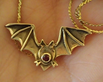 14K Gold Bat Pendant with tini Ruby on 12 K gold chain