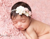 Pastel Headband, Ivory and Light Pink Newborn Headband, Rose Headband, Ivory Headband, Photo Prop, Headband, Pink Baby Headband