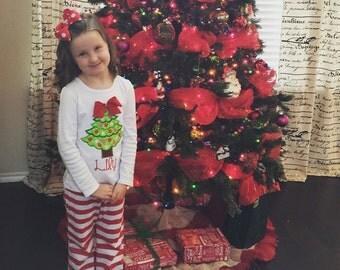 Embroidered girl's Christmas shirt or onesie - Christmas Tree