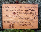 ATC ACEO Neil deGrasse Tyson quote on Cherry Wood Pyrography Woodburning