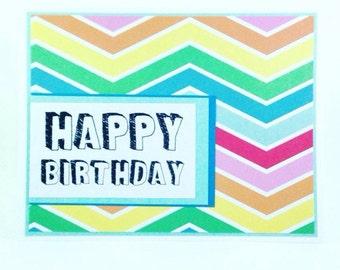 Chevrons and Rainbows Birthday Card, Happy Birthday card, best friend birthday card, kids birthday card, friendship birthday card