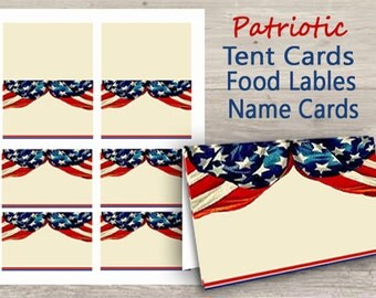 Patriotic Name Tags, Place Cards, Table Cards, Buffet Table Cards, Tent Cards, Dessert Buffet Cards