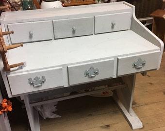 Vintage Trestle desk • vintage wood desk • craft desk