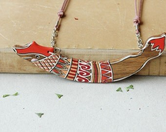Orange fox necklace, fox pendant ,woodland necklace,animal necklace,hand painted tribal necklace