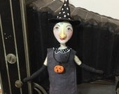 RESERVED FOR MICHELLE , Miniature witch art doll, clay cloth and wire figure , one of a kind Halloween decoration