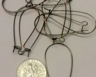 5 Pair Long 35mm Kidney Ear Wires Gun Metal Plated