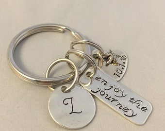 """Retirement Keychain/Personalized Sterling Silver """"Enjoy the Journey"""""""