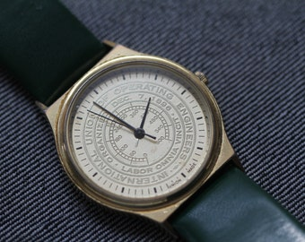 Vintage gold tone quartz watch for International Union of Operating Engineers