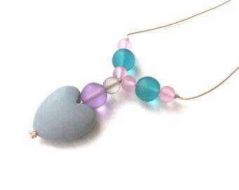 Breastfeeding Necklace - Nursing Necklace - Breastfeeding Jewellery - Resin Heart - Grey, Purple, Lilac, Aqua, Pink - Pastel Colors