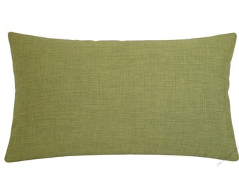 Olive Green Cosmo Linen Decorative Throw Pillow Cover / Pillow Case / Cushion Cover / 12x18""