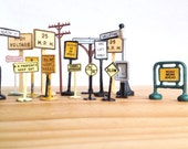 Vintage Miniature Street Signs - Traffic Signs - Tootsietoy - Collectibles - Model Train Accessories