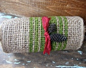 French Cottage Burlap Ribbon with Muted Green Stripes