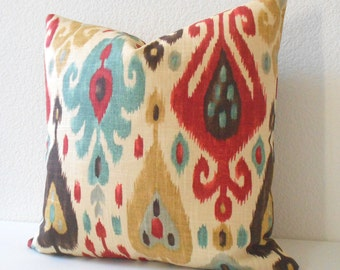 Multicolor blue and red ikat decorative pillow cover