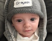 Personalized baby winter hats, Knit Baby Hat, New Baby, Newborn Hat, Baby Boy Hat, Preemie, Free monogrammed name, Preemie/24 Months