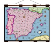 SPAIN Vintage Map 3G- Handmade Leather Wall Hanging - Travel Art