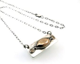 Sterling Silver, Bronze, Bar Necklace, Horizontal Necklace, Champagne CZ, 17 Inch, Necklace, CZ Necklace, CZ, Bronze Jewelry, Gem, 1164