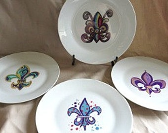 Fleur de Lis Plates - New Orleans Plates - New Orleans Home Decor - Fleur de Lis Dinner Plate - Corporate Gift - Wedding Gift - Original Art