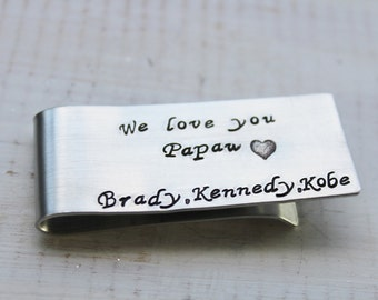 Personalized Money Clip- Hand Stamped Money Clip- Custom Money Clip- Gifts for Him- Groomsmen Gift- Aluminum Money Clip