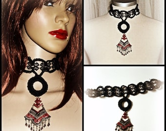 handmade cotton crochet /lace necklace,witch,goth,vampire style ,black colour
