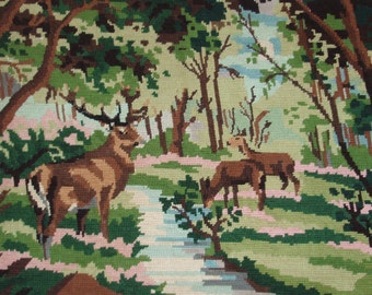 Beautiful vintage French needlepoint tapestry canvas - Deers at the lake - Deers needlepoint