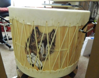 "Pow Wow Drum with a ""Wolf"" Theme"