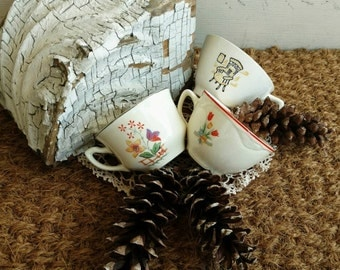 Retro Mismatched China Tea Cup Collection - Antique Whimsical Coffee Cups, Mismatched China, Set of Three Cups, Rocking Chair + Floral Cups
