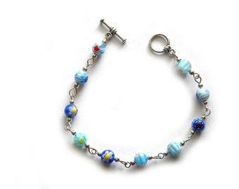 Blue Millefiori Bracelet