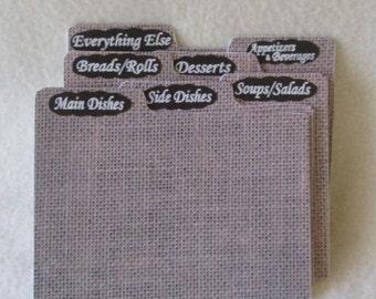 Recipe Box Dividers - Burlap - Index Cards -  Rustic Recipe Box Dividers - Shower Gift