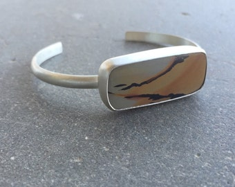 The Sky Lit Up Cuff   Death Valley Picture Rock   Sterling Silver   Yellow