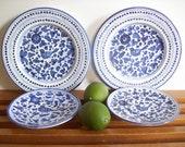 Blue and White Plates, Grazia Deruta, Vintage Italian Majolica, Set of Four, Italian Dinnerware