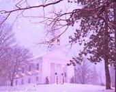 Travel photography blue purple white dreamy fairytale New England winter church dusk snow night lights fine art photo