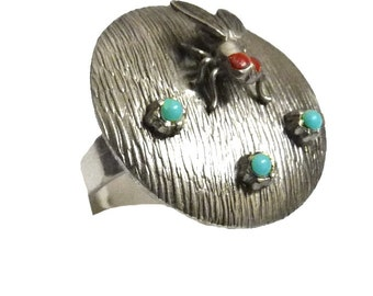 Ring with a fly insect jewelry turquoise cabochon jewelry on etsy women costume jewelry for nature lovers on etsy
