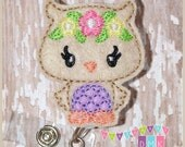 Woodland Owl with Flower Crown - Purple Belly - Felt Badge Reel - Retractable ID Badge Holder - Embroidered Name Tag Alligator or Slide Clip