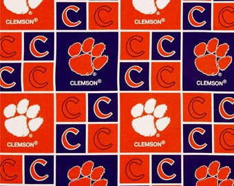 NCAA Clemson Tigers 100% Cotton Fabric by the yard