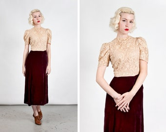 Vintage 1930s Nude Illusion Lace and Silk Velvet Dress