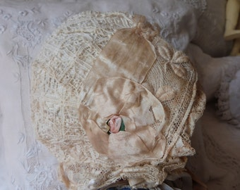 Antique French Victorian lace w silk girls bonnet hat handmade lace coiffe w hand embroidery, roses, bows, ribbons,1900s coiffe from France
