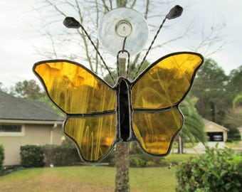 """Amber Butterfly in amber & White Wispy Translucent Glass -  Large Stained Glass Butterfly 5.75"""" x 5.75"""""""