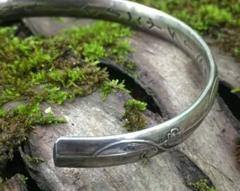 Silver Rune Jewelry -Silver Viking Bracelet - Viking Rune Jewelry - Viking Wedding - All 24 Elder Futhark Runes Hidden on inside