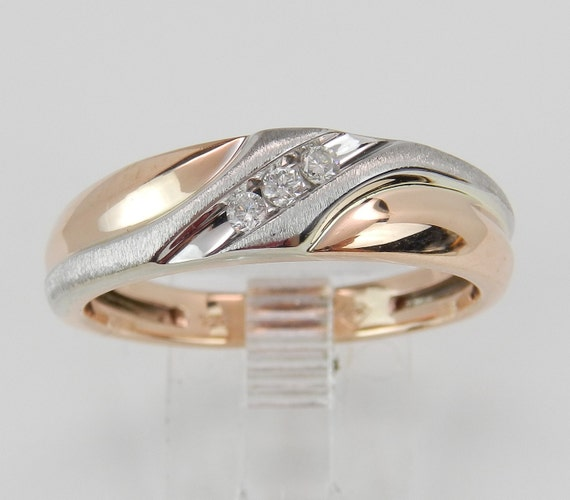 Mens Rose and White Gold Diamond Wedding Ring Anniversary Band Size 10.5