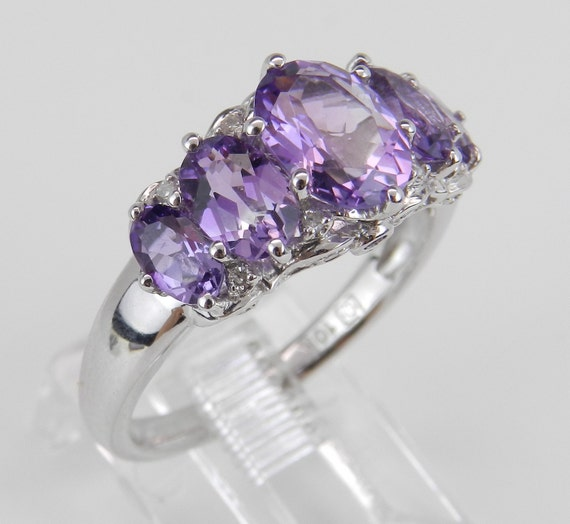 3.10 ct Diamond and Amethyst Cocktail Anniversary Ring White Gold Size 7.25