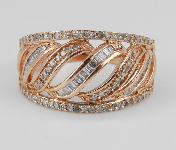 Unique Diamond Ring Anniversary Band Rose Pink Gold Ring 1/2 ct Size 7.25