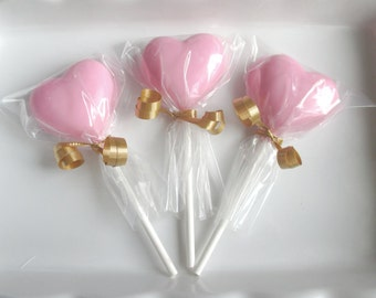 12 Heart Lollipops, heart suckers, chocolate lollipop, chocolate hearts, red candy favors, wedding favors, Valentines day, Valentine candy