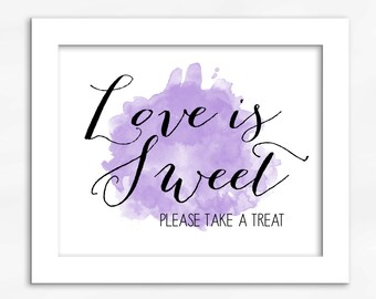 Love Is Sweet Candy Buffet Print in Light Purple - Watercolor Calligraphy Wedding Reception Sign for Favors or Dessert Table (4001)