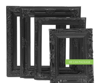 Black Picture Frames - Wedding Frames & Gothic Photo Frames - Set of 4