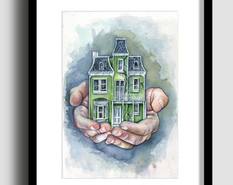 HAVEN limited edition print A3 print, hands house watercolour painting print