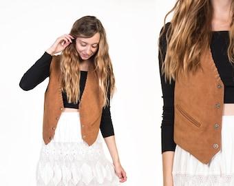 Vintage 70's Suede Leather Waistcoat Vest