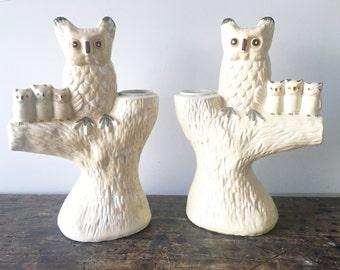 Pair of Vintage Owl Candleholders
