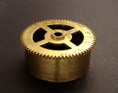 Large Brass Cylinder Gear, Mainspring Barrel from Vintage Clock Movement, Vintage Clockwork Mechanism Parts, Steampunk Art Supplies 03901