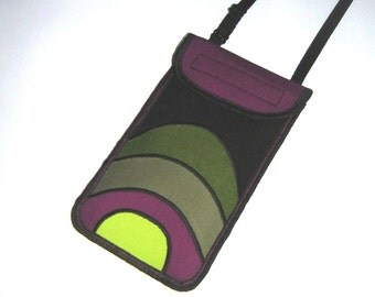 Stylish Phone Neck cover fits iPhone 6 plus Small Sling Bag cellphone case Large Smartphone Purse mixed fabrics in Black Purple Green